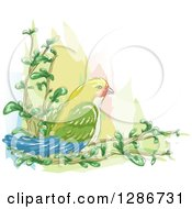 Watercolor Of A Love Bird On Branches