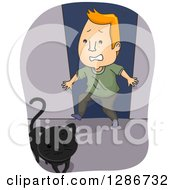 Clipart Of A Black Cat Crossing A Scared Superstitious Red Haired White Mans Path Royalty Free Vector Illustration