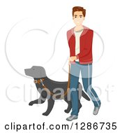 Clipart Of A Happy Young Brunette Caucasian Man Walking A Dog Royalty Free Vector Illustration
