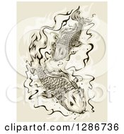 Clipart Of A Pair Of Koi Fish Swimming Royalty Free Vector Illustration