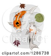 Clipart Of A Pair Of Calico Koi Fish Swimming In A Pond With Autumn Leaves And A Lily Pad Royalty Free Vector Illustration