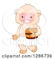 Clipart Of A Happy Macaque Monkey Holding A Barrel And Ready For A Bath At A Hot Spring Royalty Free Vector Illustration