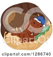Clipart Of A Cute Rodent Sleeping In A Burrow With Light Shining In Royalty Free Vector Illustration