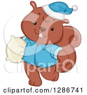 Clipart Of A Happy Squirrel In Pajamas Carrying A Pillow Royalty Free Vector Illustration