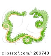 Clipart Of A Green Chinese Dragon Curling And Forming A Frame Royalty Free Vector Illustration by BNP Design Studio