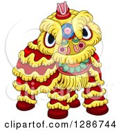 Clipart Of A Chinese Lion Dance Costume Royalty Free Vector Illustration by BNP Design Studio