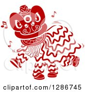 Clipart Of A Red Stencil Styled Chinese Dancing Lion Royalty Free Vector Illustration