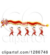 Clipart Of Chinese Boys Performing A New Year Dragon Dance Royalty Free Vector Illustration by BNP Design Studio