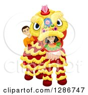 Clipart Of Young People In A Chinese Lion Dance Costume Royalty Free Vector Illustration