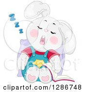 Clipart Of A Tired White Bunny Rabbit Sleeping Upright With A Book At His Side Royalty Free Vector Illustration