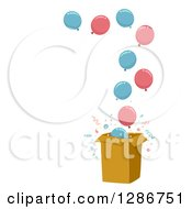 Gender Reveal Box With Both Pink And Blue Party Balloons Floating Out Of It With Text Space