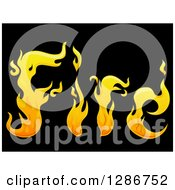 Yellow Flames Spelling The Word Fire On Black