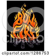 Clipart Of Flames Spelling Out Bon Fire Over Logs On Black Royalty Free Vector Illustration by BNP Design Studio