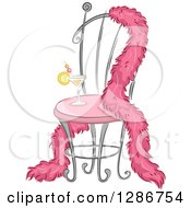 Clipart Of A Pink Feather Boa Draped Over A Fancy Chair With A Cocktail Royalty Free Vector Illustration by BNP Design Studio
