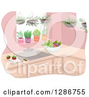 Clipart Of A Kitchen With Hanging And Potted Plants And Vegetables On The Counter Royalty Free Vector Illustration