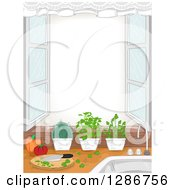 Clipart Of A Kitchen Window With An Herb Garden Cutting Board And Window Frame Royalty Free Vector Illustration