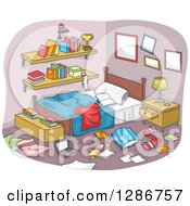 Clipart Of A Messy Boys Room With Clothing And Items All Over The Floor Royalty Free Vector Illustration