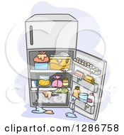 Clipart Of An Open Messy Refrigerator With Spills Royalty Free Vector Illustration