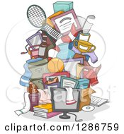 Clipart Of A Pile Of Boys Sports And Bedroom Items Royalty Free Vector Illustration