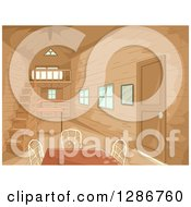Clipart Of A Small Wooden Home Interior With A Table Royalty Free Vector Illustration by BNP Design Studio