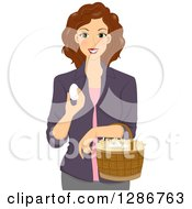 Clipart Of A Happy Brunette White Woman Gathering Chicken Eggs In A Basket Royalty Free Vector Illustration