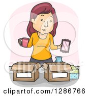 Clipart Of A Cartoon White Woman Going Through Belongings And Packing Royalty Free Vector Illustration