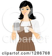 Clipart Of A Happy Asian Barista Woman Holding A Coffee Pot And Cup Royalty Free Vector Illustration