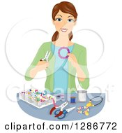 Clipart Of A Happy Brunette White Woman Making Beaded Jewelery Royalty Free Vector Illustration