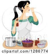 Clipart Of A Young Asian Woman Making Her Own Homemade Perfume Royalty Free Vector Illustration