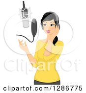 Clipart Of A Young Asian Woman Singing In A Music Studio Royalty Free Vector Illustration