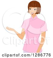 Clipart Of A Friendly Brunette White Spa Therapist Presenting Royalty Free Vector Illustration