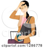 Clipart Of A Young Asian Traveling Woman With A Headache Royalty Free Vector Illustration