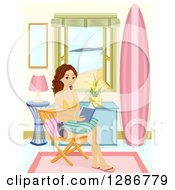 Clipart Of A Happy Brunette White Young Woman Reading By A Window Looking Out At A Beach Royalty Free Vector Illustration by BNP Design Studio