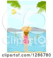 Clipart Of A Rear View Of A White Woman Sitting On A Hammock On A Beach Royalty Free Vector Illustration by BNP Design Studio