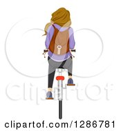 Clipart Of A Rear View Of A Dirty Blond White Teenage School Girl Riding A Bicycle Royalty Free Vector Illustration