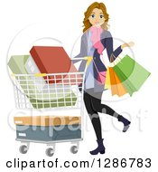 Clipart Of A Happy Dirty Blond White Woman Carrying Shopping Bags And Pushing A Cart Royalty Free Vector Illustration