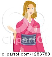Clipart Of A Dirty Blond White Woman Presenting And Wearing A Kimono Royalty Free Vector Illustration