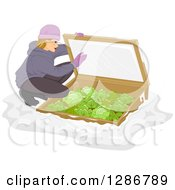 Clipart Of A Blond White Woman Checking On Her Cold Frame Garden With Cabbage Royalty Free Vector Illustration