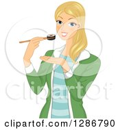 Clipart Of A Happy Blond White Woman Eating A Maki Sushi Roll With Chopsticks Royalty Free Vector Illustration by BNP Design Studio