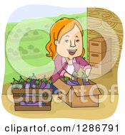 Clipart Of A Happy Cartoon Red Haired White Woman Boxing Eggplants On A Farm Royalty Free Vector Illustration