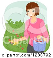 Clipart Of A Happy Brunette White Woman Using A Fruit Picker To Collect Strawberries From A Bush Royalty Free Vector Illustration