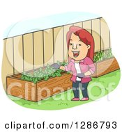 Clipart Of A Happy White Cartoon Woman Checking Out Her Raised Garden Beds Royalty Free Vector Illustration