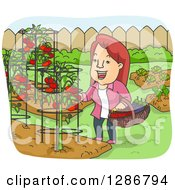 Clipart Of A Happy Cartoon Woman Harvesting Tomatoes And Eggplants From Her Backyard Garden Royalty Free Vector Illustration