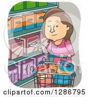 Clipart Of A Cartoon Brunette White Woman Grocery Shopping With A List Royalty Free Vector Illustration by BNP Design Studio