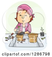Clipart Of A Cartoon Caucasian Woman Transfering Plants Royalty Free Vector Illustration