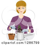 Clipart Of A Happy Blond White Woman Transplanting A Seedling Royalty Free Vector Illustration