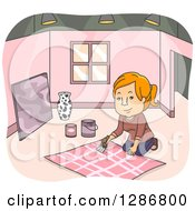 Clipart Of A Happy Red Haired White Woman Stage Art Designer Painting In A Room Royalty Free Vector Illustration