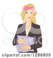 Clipart Of A Happy Blond White Business Woman Ready To Take A Nap Royalty Free Vector Illustration