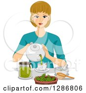 Clipart Of A Happy Dirty Blond White Woman Making Organic Tea Royalty Free Vector Illustration by BNP Design Studio