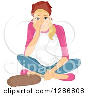 Clipart Of A Tired Blond White Woma Resting After Dusting And Cleaning Royalty Free Vector Illustration